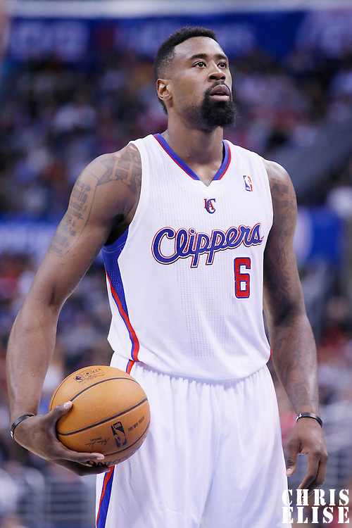 18 February 2014: Los Angeles Clippers center DeAndre Jordan (6) is seen at the free throw line during the San Antonio Spurs 113-103 victory over the Los Angeles Clippers at the Staples Center, Los Angeles, California, USA.