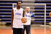 Biella, 15/12/2012<br /> Basket, All Star Game 2012<br /> Allenamento Nazionale Italiana Maschile <br /> Nella foto: david cournooh Luca Dalmonte<br /> Foto Ciamillo