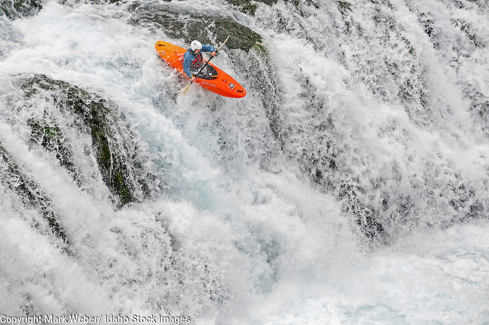 Mike Krupski kayaking the falls in Box Canyon which are rated Class 5 at Box Canyon State Park in southern Idaho