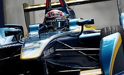 e.dams Renault driver Sebastien Buemi during the Visa London ePrix at Battersea Park, London.