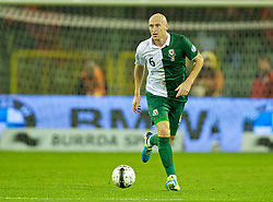 BRUSSELS, BELGIUM - Tuesday, October 15, 2013: Wales' James Collins in action against Belgium during the 2014 FIFA World Cup Brazil Qualifying Group A match at the Koning Boudewijnstadion. (Pic by David Rawcliffe/Propaganda)