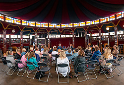 Pictured: Fringe by the Sea, North Berwick, East Lothian, Scotland, United Kingdom, 06 August 2019 with Kylie Reid, founder of EGG (Edinburgh Gossip Girls) which started as a Facebook group where women could swap tips and has become an online community of more than 14,500 women. Kylie gives a talk to an audience about her career and the development of EGG.<br /> <br /> Sally Anderson | EdinburghElitemedia.co.uk