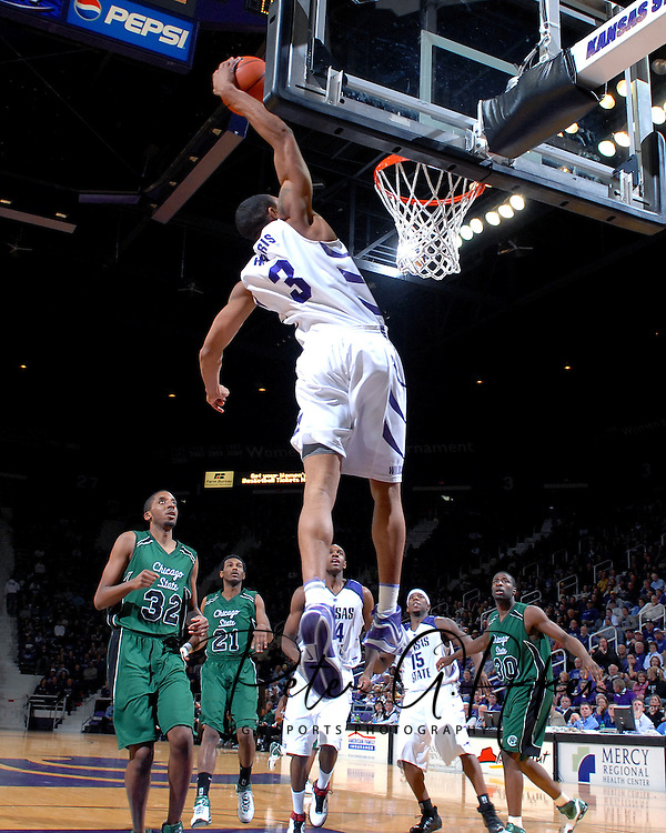 Kansas State guard Lance (3) skies for the jam in the second half against Chicago State at Bramlage Coliseum in Manhattan, Kansas, January 22, 2007.  K-State defeated Chicago State 73-36.
