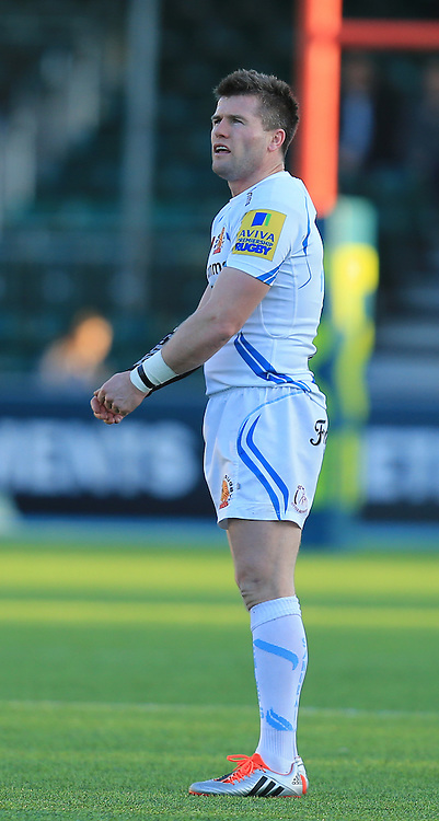 Ceri Sweeney of Exeter Chiefs lines up a penalty kick during the LV Cup match at Allianz Park, London<br /> Picture by Michael Whitefoot/Focus Images Ltd 07969 898192<br /> 07/02/2015