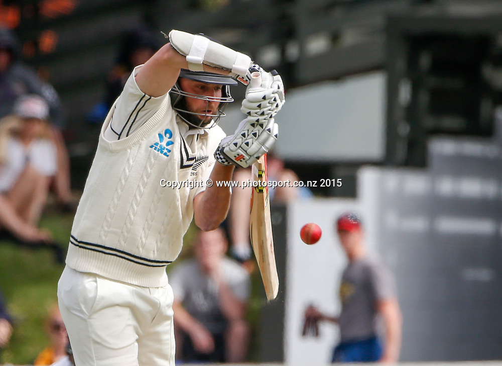 Mark Craig plays a shot.  First day, second test, ANZ Cricket Test series, New Zealand Black Caps v Sri Lanka, 03 January 2015, Basin Reserve, Wellington, New Zealand. Photo: John Cowpland / www.photosport.co.nz