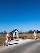 Another Roadside Attraction - warning signs near roadside Shrine, near Melden, Ooudenarde, Flanders, Belgium.