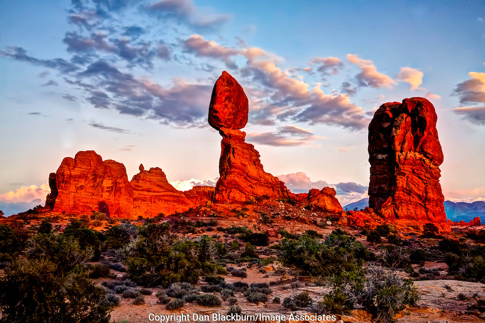 Sunset on Balanced Rock Arches National Park Utah