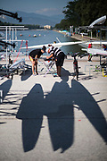 "Plovdiv BULGARIA. 2017 FISA. Rowing World U23 Championships. Crew and Coach, ""rigging and setting up the boat"".<br /> <br /> Wednesday. AM, general Views, Course, Boat Area<br /> 09:19:28  Wednesday  19.07.17   <br /> <br /> [Mandatory Credit. Peter SPURRIER/Intersport Images]."