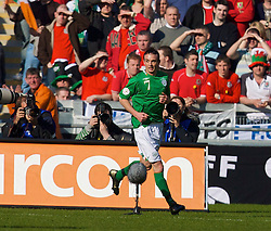 DUBLIN, REPUBLIC OF IRELAND - Saturday, March 24, 2007: Republic of Ireland's Stephen Ireland celebrates scoring the opening goal against Wales during the UEFA European Championships 2008 Group D qualifying match at Croke Park. (Pic by David Rawcliffe/Propaganda)