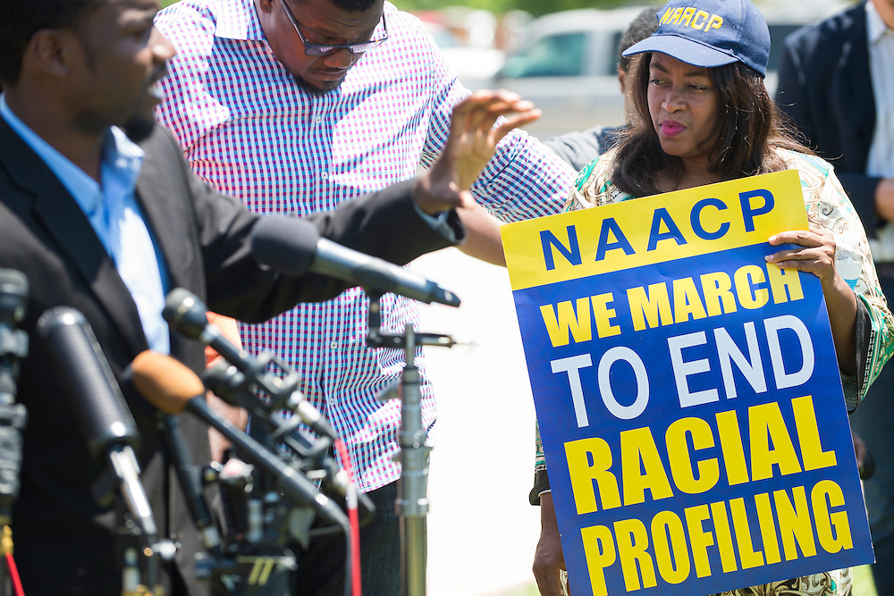 Angela Luckey, president of NAACP Grand Prairie, looks on during a press conference outside the McKinney Police Headquarters in McKinney, Texas on June 8, 2015.  (Cooper Neill for The New York Times)