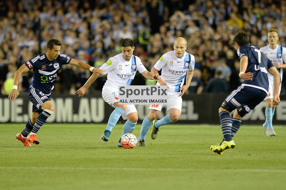 "Daniel Georgievski of Melbourne Victory, Bruno Fornaroli of Melbourne City, Aaron Mooy of Melbourne City, Gui Finkler of Melbourne Victory - Hyundai A-League - October 17th 2015 - ROUND 2- Melbourne Victory FC v Melbourne City FC in the first derby for the 2015 season with a 3:2 win to Victory on the 90"" - © Mark Avellino 