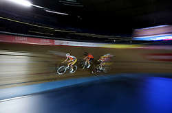 Riders during the Marathon Chase during day five of the Six Day Series at Lee Valley Velopark, London