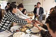 Menu <br /> Onigiri (Riceball) <br /> Koshihikari rice from Mr. Yano(New crop) , Bonito-flake, Kombu, Ume<br /> <br /> Miso soup<br /> Ittetsu Koimo (Small-yum) from Migita-farm<br /> <br /> Onion Salad<br /> Onion from the garden at University.<br /> <br /> Tsurukubi- Nankin (Crane neck squash)<br /> From the garden<br /> <br /> Edamame<br /> Kuromame (black soy bean)<br /> <br /> Tofu<br /> <br /> Himeji Otafuku ginger from Mr. Yamane's field.