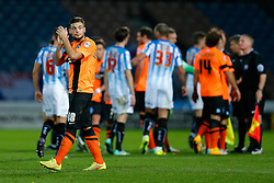 Jake Forster-Caskey of Brighton applauds the travelling fans after the match ends in a 1-1 draw - Photo mandatory by-line: Rogan Thomson/JMP - 07966 386802 - 21/10/2014 - SPORT - FOOTBALL - Huddersfield, England - The John Smith's Stadium - Huddersfield Town v Brighton & Hove Albion - Sky Bet Championship.