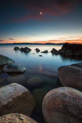 """Tahoe Boulders at Sunset 19"" - Photograph taken at sunset of granite boulders at Hidden Beach, Lake Tahoe."