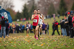 Christian Gravel of the Guelph Gryphons runs in the men's  10K Run at the 2013 CIS Cross Country Championships in London Ontario, Saturday,  November 9, 2013.<br /> Mundo Sport Images/ Geoff Robins