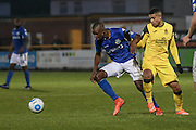 Eastleigh Hakeem Odoffin battleswithSouthport FC Forward Jamie Allen during the Vanarama National League match between Southport and Eastleigh at the Merseyrail Community Stadium, Southport, United Kingdom on 17 December 2016. Photo by Pete Burns.