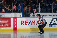 KELOWNA, CANADA - FEBRUARY 23:  Referee Ward Pateman skates onto the ice at the Kelowna Rockets against the Kamloops Blazers on February 23, 2019 at Prospera Place in Kelowna, British Columbia, Canada.  (Photo by Marissa Baecker/Shoot the Breeze)
