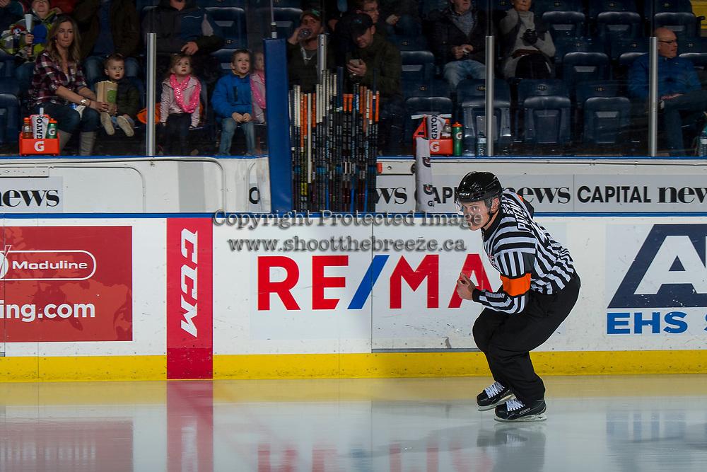 KELOWNA, CANADA - FEBRUARY 23:  Referee Ward Pateman skates onto the ice at the Kelowna Rockets against the Kamloops Blazers on February 23, 2019 at Prospera Place in Kelowna, British Columbia, Canada.  (Photo by Marissa Baecker/Shoot the Breeze)