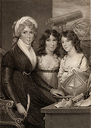 Mrs Bryan and Children'  Stipple engraving after the painting by Samuel Shelley. Margaret Bryan (active 1790-1815) English teacher, natural philosopher and author shown with her daughters and surrounded by scientific instruments.  Mrs Bryan had a girls' school at Blackheath, London, where she taught astronomy and natural philosophy (science) to her pupils.  Engraving for the frontispiece of 'A Compendious System of Astronomy' by Mrs  Margaret Brown (1797).