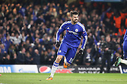 Chelsea striker Diego Costa (19) celebrating scoring making it 1-1 during the Champions League match between Chelsea and Paris Saint-Germain at Stamford Bridge, London, England on 9 March 2016. Photo by Matthew Redman.