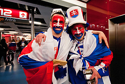 Fans of Slovakia during ice-hockey match between Finland and Slovakia of Group E in Qualifying Round of IIHF 2011 World Championship Slovakia, on May 7, 2011 in Orange Arena, Bratislava, Slovakia. (Photo by Matic Klansek Velej / Sportida)