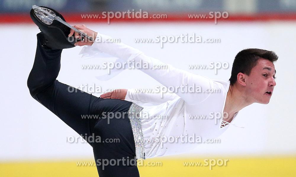 03.12.2015, Dom Sportova, Zagreb, CRO, ISU, Golden Spin of Zagreb, Kurzprogramm Herren, im Bild Kevin Aymoz, France // during the 48th Golden Spin of Zagreb 2015 Male Short Program of ISU at the Dom Sportova in Zagreb, Croatia on 2015/12/03. EXPA Pictures © 2015, PhotoCredit: EXPA/ Pixsell/ Slavko Midzor<br /> <br /> *****ATTENTION - for AUT, SLO, SUI, SWE, ITA, FRA only*****