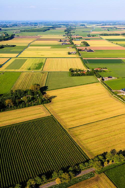 Nederland,  Land van Maas en Waal, Gelderland, 27-05-2013; West Maas en Waal, oorspronkelijk een gebied van komgronden (laag gelegen en nat gebied), versnipperd en slecht ontsloten. Links boven het midden een van de oorspronkelijke eendenkooien, rechts een van Nederlands bekendste boerderijstraten Kooiweg-Papesteeg-Liesbroekstraat-Hoogbroekstraat.<br /> Grootschalige ruilverkaveling in combinatie met cultuurtechnische gebiedsverbetering is in de jaren vijftig (jaren '50) van de vorige eeuws gecombineerd met voorlichting en scholing van de bewoners.<br /> The low and wet land between the rivers Maas and Waal, central Netherlands  has been developed in the fifties by large-scale land consolidation and education, development and training of the residents. One of the main roads along the farms.<br /> luchtfoto (toeslag op standard tarieven)<br /> aerial photo (additional fee required)<br /> copyright foto/photo Siebe Swart