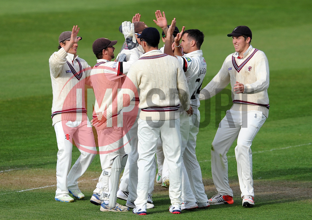 Somerset's Lewis Gregory celebrates the wicket of Durham's Keaton Jennings- Photo mandatory by-line: Harry Trump/JMP - Mobile: 07966 386802 - 12/04/15 - SPORT - CRICKET - LVCC County Championship - Day 1 - Somerset v Durham - The County Ground, Taunton, England.