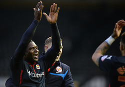 Reading's Yakubu Aiyegbeni celebrates at full time. - Photo mandatory by-line: Alex James/JMP - Mobile: 07966 386802 - 14/02/2015 - SPORT - Football - Derby  - ipro stadium - Derby County v Reading - FA Cup - Fifth Round
