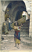 Childhood of Jesus. Jesus carrying a plank of wood down the street while Mary and Joseph watch from their doorway.   Illustration by J.J.Tissot for his 'Life of Our Saviour Jesus Christ', 1897. Oleograph.