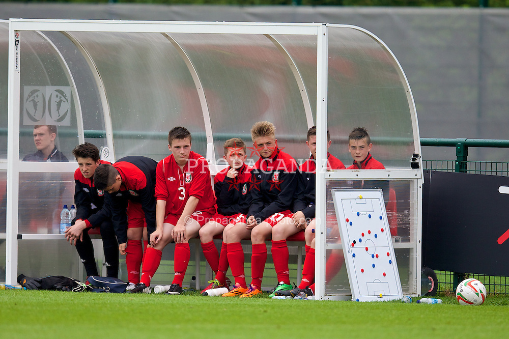 NEWPORT, WALES - Tuesday, May 27, 2014: Regional Boys' substitutes during the Welsh Football Trust Cymru Cup 2014 at Dragon Park. (Pic by David Rawcliffe/Propaganda)