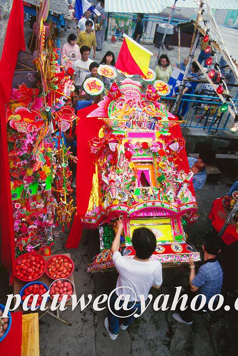 Villagers welcoming Tinhau god back home in  Tinhau festival, Tapmun island, Hong Kong, china