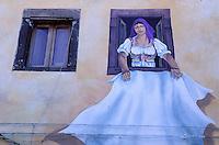 Tinnura town, wall painting, Bosa area, Sardinia, Italy