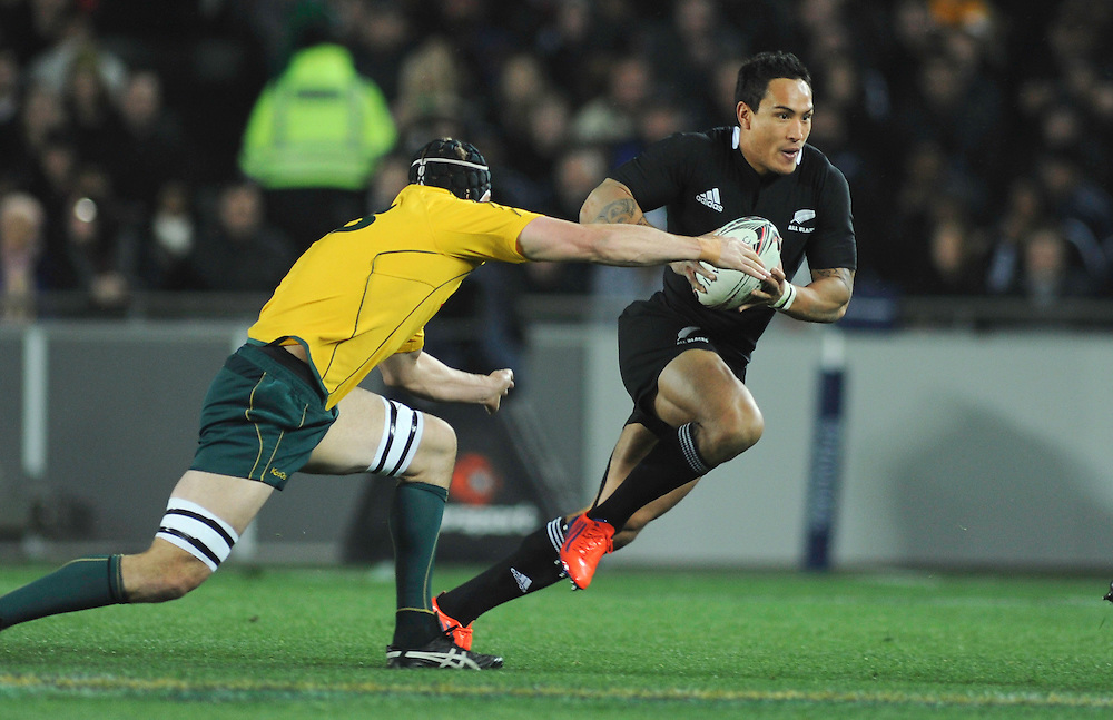 New Zealand's Hosea Gear runs around Australia's Dan Vickerman in the Bledisloe Cup Tri-nations rugby test, Eden Park, Auckland, New Zealand, Saturday, August 06, 2011. Credit:SNPA / Ross Land