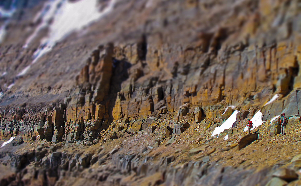 Erik Welborn and Brent Peters traverse to the Black Towers on one of the 50 Classic Climbs of North America, The East Ridge of Mt Temple 5.7 IV