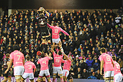 Ben Toolis rises high during the European Rugby Challenge Cup match between Edinburgh Rugby and Stade Francais at Murrayfield Stadium, Edinburgh, Scotland on 12 January 2018. Photo by Kevin Murray.