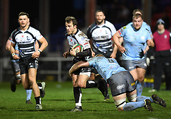 Dale Stuckey of Pontypridd on the attack in tonights game<br /> <br /> Photographer Mike Jones/Replay Images<br /> <br /> Principality Premiership - Neath v Pontypridd - Friday 16th March 2018 - The Gnoll Neath<br /> <br /> World Copyright © Replay Images . All rights reserved. info@replayimages.co.uk - http://replayimages.co.uk