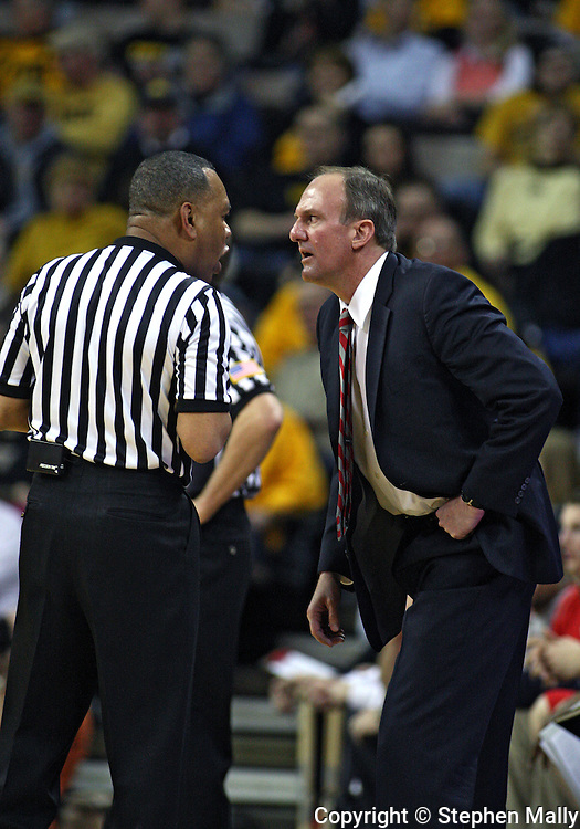 January 27, 2010: Ohio State head coach Thad Matta stares at an official during the first half of their game at Carver-Hawkeye Arena in Iowa City, Iowa on January 27, 2010. Ohio State defeated Iowa 65-57.