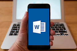 Using iPhone smartphone to display logo of Microsoft Word mobile word processing app