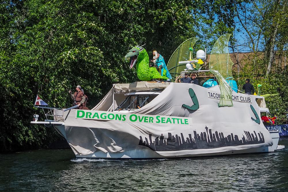 United States, Washington, Seattle. Washington, Seattle, Opening Day of Boating Season. Decorated boats.
