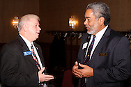 Riverside mayor Bill Flaute (left) talks with Beavercreek vice mayor Brian Jarvis during the Dayton Area Chamber of Commerce Government Affairs Breakfast at the Crowne Plaza Hotel in downtown Dayton, Wednesday, November 30, 2011.