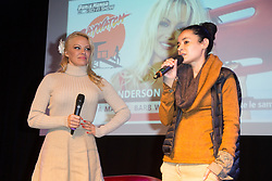 Pamela Anderson and Lamya Essemlali French environmental activist, she's the chairperson of Sea Shepherd France and Campaign Coordinator for Sea Shepherd Global attends the 25th Paris Manga & Sci-Fi Show at Parc des Expositions Porte de Versailles on February 03, 2018 in Paris, France. Photo by Nasser Berzane/ABACAPRESS.COM