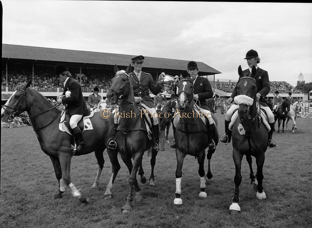 Aga Khan Trophy..1979..10.08.1979..08.10.1979..10th August 1979..The annual staging of the Aga Khan Cup took place  at the Royal Dublin Showgrounds, Ballsbridge,Dublin today.It was the first time since 1937 that Ireland won the trophy outright. The winning Irish team comprised of Paul Darragh,.Image of  Paul Darragh,Capt Con Power,James Kernan and Eddie Macken after receiving the trophy