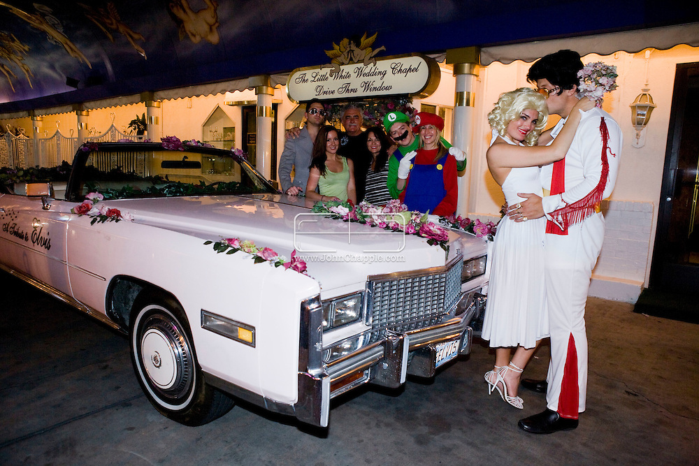 5th June 2010. Las Vegas, Nevada. Known around the world as one of the most Famous places to be married, The Little White Wedding Chapel in Las Vegas has wed stars from Britney Spears to Judy Garland. Pictured Alex Conteh, 34 and his bride of three years Tara, also 34. PHOTO © JOHN CHAPPLE / www.chapple.biz.john@chapple.biz  (001) 310 570 9100.