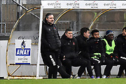 Blackpool caretaker manager David Dunn during the EFL Sky Bet League 1 match between Bristol Rovers and Blackpool at the Memorial Stadium, Bristol, England on 15 February 2020.