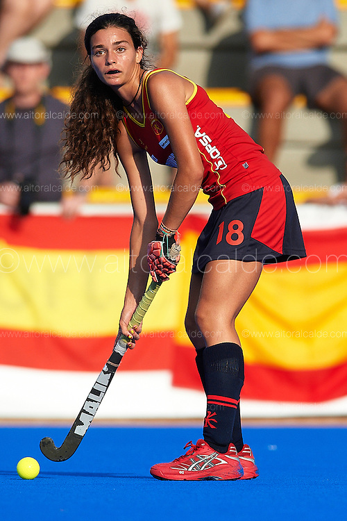VALENCIA, SPAIN - JULY 7: Eurohockey Youth Championship  under 16 girls Valencia match between Spain and Belgium at the verge del carmen de betero on July 7, 2012 in Valencia, Spain. (Photo by Aitor Alcalde)