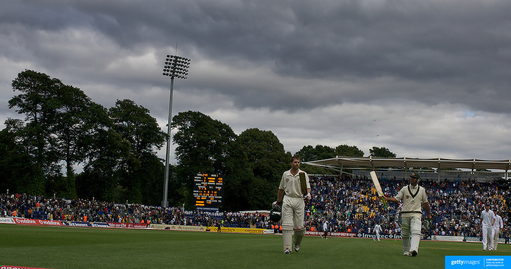 Ricky Ponting and Simon Katich leave the field at the end of the days play after both making a century during the England V Australia  Ashes Test series at Cardiff, Wales, on Thursday, July 09, 2009. Photo Tim Clayton.