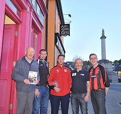 Westport United gathering 10 years On from the famous FAI Junior Cup win in 2005, from left Sean McKenna, Martin McGreal, Brian Kennedy Kevin Cusack and Padraig Burns.<br /> Pic Conor McKeown