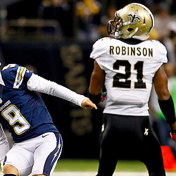 October 7, 2012; New Orleans, LA, USA; San Diego Chargers kicker Nick Novak (9) reacts after missing a field goal attempt during the second quarter of a game against the New Orleans Saints at the Mercedes-Benz Superdome. Mandatory Credit: Derick E. Hingle-US PRESSWIRE